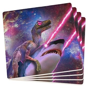 Velociraptor Laser Shark in Space Set of 4 Square Sandstone Coasters
