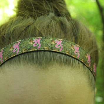 Nonslip Headband - Camo with pink deer head - sports headband