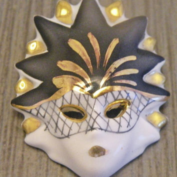 1980s Porcelain Drama Mask Brooch