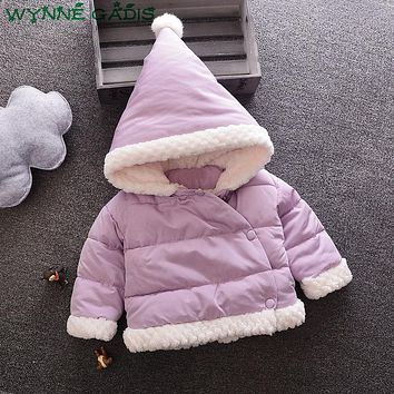 WYNNE GADIS Winter Baby Girls Cotton Down Solid Long Sleeve Hooded Thick Warm Snow Wear Parkas Kids Outerwear Coat Casaco