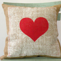 "Valentine's Day, Hessian/Burlap pillow cover, Red Heart Pillow, pillow size 16""X 16"""