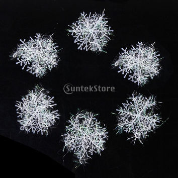 60pcs Christmas Decorations Supplies White Snow Snowflakes Hanging Ornaments 6cm = 1945687428