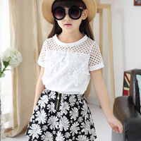 4 15y Fashion Children girls Clothing sets teenage summer tracksuit for girl clothes sets 2pc brand Lace T shirt +Flower Skirts-in Clothing Sets from Mother & Kids on Aliexpress.com | Alibaba Group