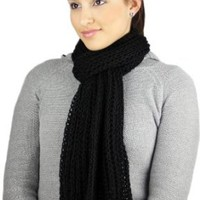 CLEARANCE - Handmade Knitted by Hand Flexible Acrylic Scarf - COZY in BLACK