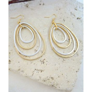 Gold & Silver Hammered Hoop Earrings with  14k Gold Hooks
