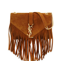 Monogram Suede Fringe Shoulder Bag - Saint Laurent