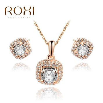 ROXI Graduation Gift Crystal Classical Set Girlfriend Man-made Fashion Gold Jewelry Set Cute Earrings + Necklace for Party