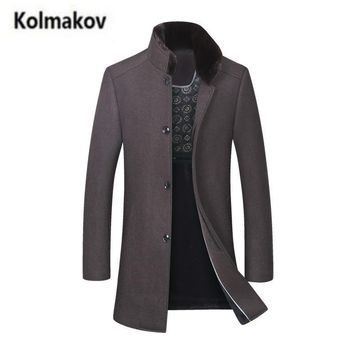 KOLMALOV 2017 new winter Men's Wool trench coat Jacket,fashion Single breasted stand collar Thicker Woolen windbreaker,M-3XL