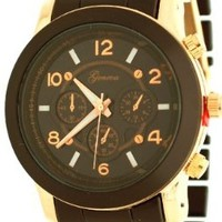 Geneva Dark Chocolate Three Dialed Rose Gold Bezel Jeweled Watch 1311-RG5