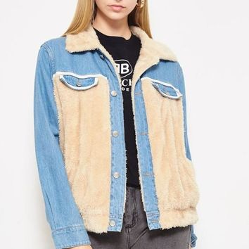 Teddy To Go Jacket in Denim