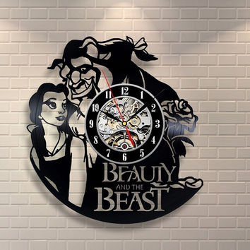 Beauty And The Beast Vinyl Record Design Wall Clock - Decorate your home with Famous Rock Band Style Music Art - Best gift for m