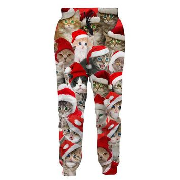 Joggers Collection: Galaxy, Christmas Cats, Wolf, Pizza, Dinosaur all Over Print Pants