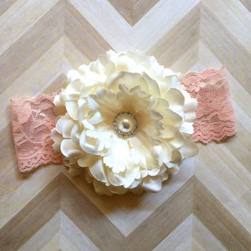 Peony Flower Headband.Ivory Headband.Flower Headband.Blush Headband.Newborn Headband.Infant Headband.Girl Headband.Photo Prop.Lace Headband