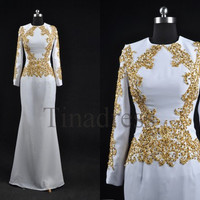 Custom White Gold Applique Beaded Long Mid East Prom Dresses Long Sleeves Evening Dresses Party Dress Homecoming Dresses Wedding Party Dress