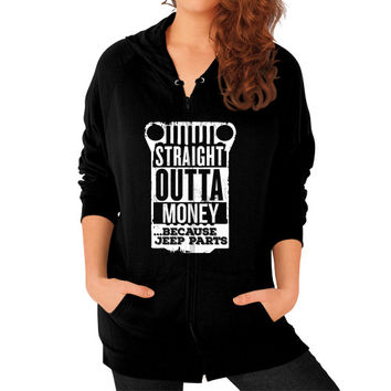 Straight outta jeep parts Zip Hoodie (on woman)