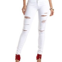 "Refuge ""Hi-Waist Super Skinny"" Destroyed Jeans - White"