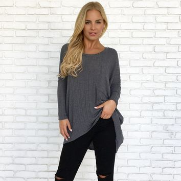 Never Let Me Go Knit Sweater in Charcoal