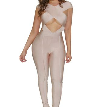 KYLIE JENNER INSPIRED NUDE BANDAGE CROSS CUT BODYCON JUMPSUIT