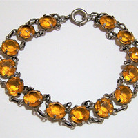 Art Deco Czech Glass Bracelet, Bezel Set Faceted Topaz  Open Back Stones, Sterling Silver Setting 517