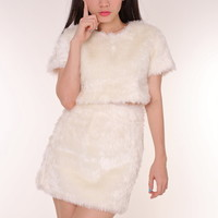 Glitters For Dinner — PRE ORDER - Gigi White Furry 2 Piece Set