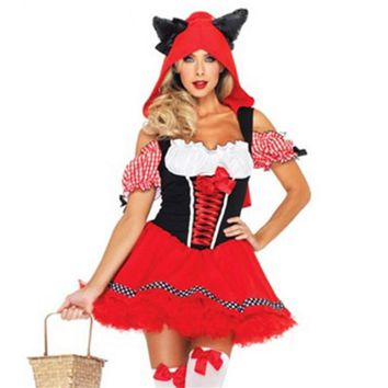 Sexy Animal red Fox ear Dress Carnival Party Wolf ear Little Red Riding Hood cosplay clothing sexy  costumes HalloweenKawaii Pokemon go  AT_89_9