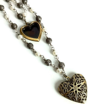 Heart Locket Necklace Double Wrap Pearl Link Chain with Double Heart Lockets Message Locket Photo Locket Wife Gift Mom Gift Valentine's Gift