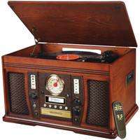 Innovative ITVS-750 The Aviator 5-in-1 Wooden Cabinet Record Player Stereo