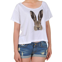 Women Portrait of Hare Printed Cotton Croptop WTS_08