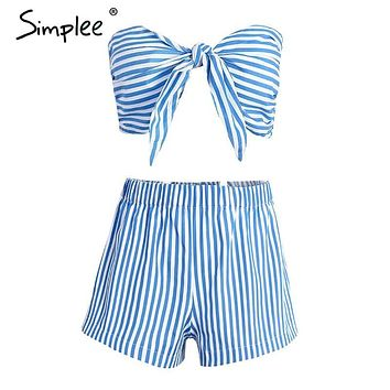 Simplee Bow blue striped sleeveless sexy jumpsuits romper Summer 2017 beach unpadded overalls Women two-piece playsuit leotard
