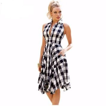 Fit And Flare Plaid Asymmetric Women Midi Party Dress