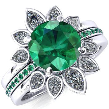 Flora Round Emerald 1/2 Eternity Accent Emerald Ring