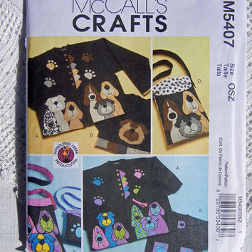 Dog Applique Patterns for Tote Bags and Sweatshirts or Jackets, McCalls Crafts M5407 (2007) Uncut, Factory Fold
