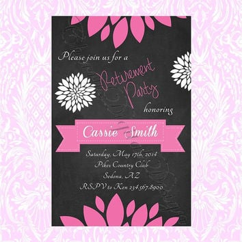 Custom printable Retirement Invitation. Pink, Black, & White Chalkboard Retirement invitation for her.  Goodbye party card.