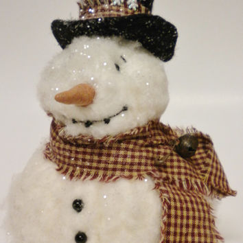 Frosty Snowman Decoration, Soft Sculpture Snowman, Classic Snowman Accent