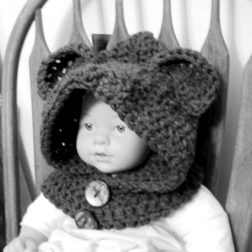 Babies Hooded Bear Cowl Scarf Crochet Hoodie Scoodie Bear Ears Hat Winter Earwarmer Snowboard Hat Neckwarmer Infant and Toddler Size