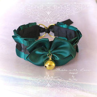 Kitten Pet Play Cat Collar Choker Necklace Royal Green Black Satin Bell Bow Kitty Cute pastel goth Lolita Neko BDSM DDLG Gothic