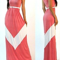 Tp Sky Womens Casual Chevron Print Sleeveless Maxi Dress with Belt (S, Red)