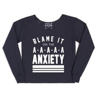 Blame it on the Anxiety-Female Navy Hoodie