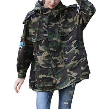 [16337] Aircraft Embroidered Camouflage Jacket