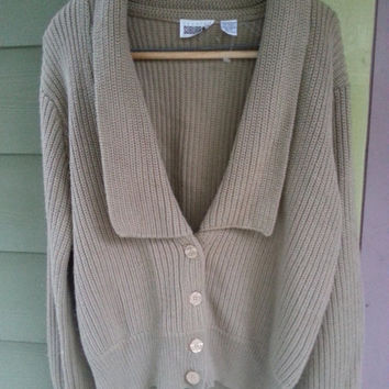 Vintage 80s Country SuburbansTan Khaki Shaker Knit Cardigan Sweater Size L
