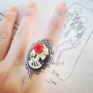 Miss Skeleton Gothic Ring  Girl Zombie Lady by blackpersimmons