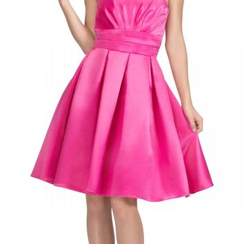 Fuchsia Knee Length Bridesmaid Dress Strapless Empire Pleated Bodice