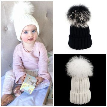 DCCKL3Z Personality Christmas Fashion hats The hair ball KIDS hats Skullies Beanies Caps knit hat BABY Girls Boys Raccoon Fur Pom Poms