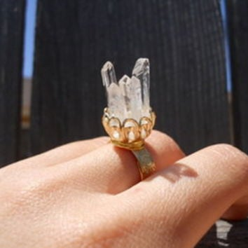Quartz Cluster Ring - Kalaidascopes  Paetoz