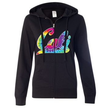 Cali Tie Dye Ladies Lightweight Fitted Zip-Up Hoodie
