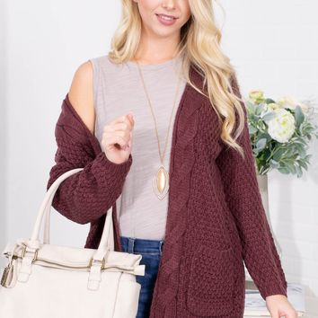 Burgundy Wool Knit Pocket Cardigan