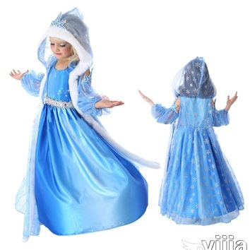 2016 Hot Elsa Anna Girls Princess Children Dress Cloth Party Vestidos Infants Sweater Sleeves Dress Baby Kids Custom Dresses