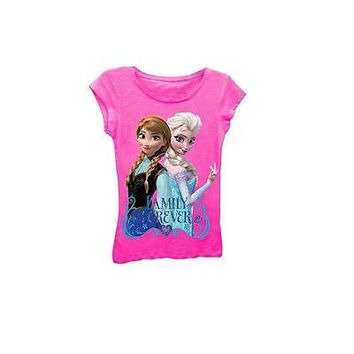 Disney Frozen Girls' Family Forever Graphic Tee, Pink, Size L (10-12)