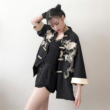 Summer Harajuku Linen Women Jackets Japanese Vintage Embroidery Robes For Ladies Retro BF Sunscreen Female Streetwear Jackets