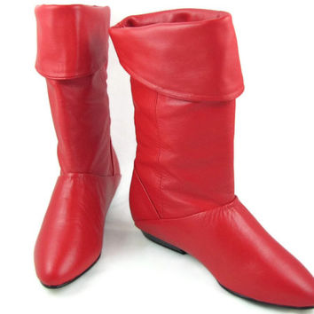 Avast - Vintage 1980s Cherry Red Leather Pirate Boots with Optional Turn Down Cuffs, Flat Soles, Never Worn, by Life Stride, Size 5 M